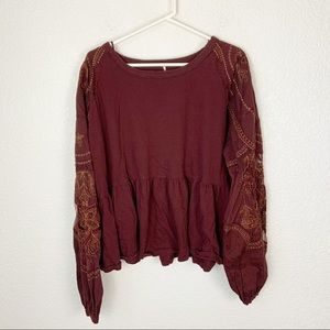 Free People Sheer Sleeve Embroidered Blouse Large